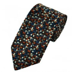 Bronze & Shades of Blue Multi Coloured Square Patterned Tie
