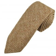 Brown & Beige Herringbone Tweed Wool Tie