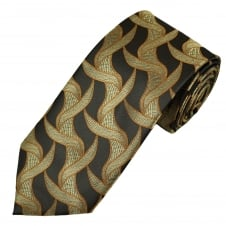 Brown & Beige Patterned Men's Extra Long Tie
