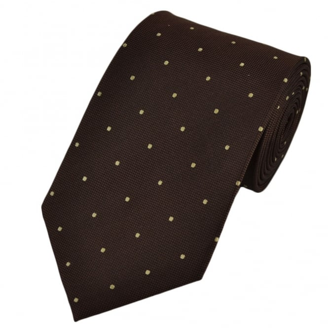 Brown & Beige Silk Polka Dot Tie