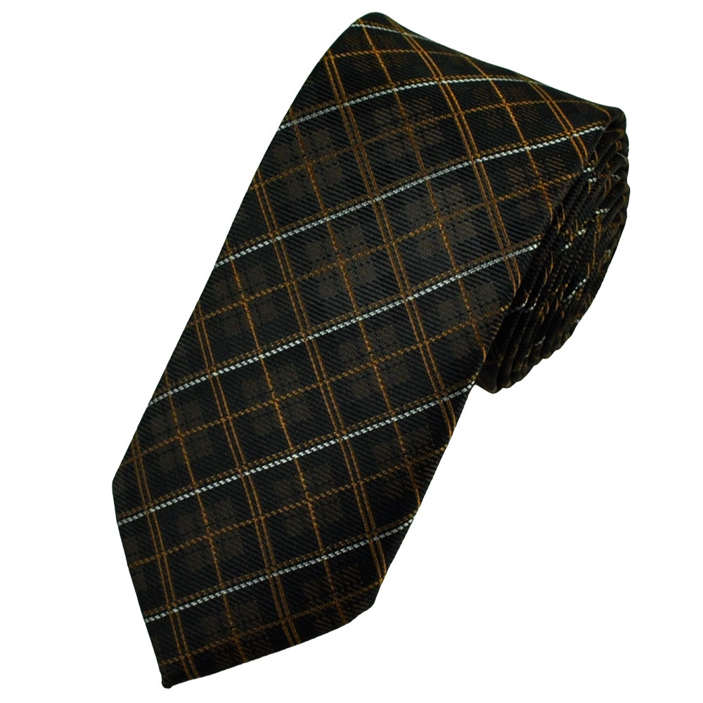 brown black silver tartan checked narrow tie from ties