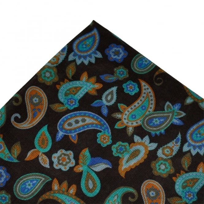 Brown, Blue & Orange Paisley Wool Pocket Square by Profuomo