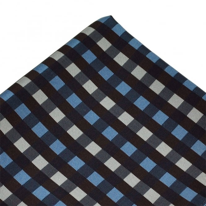 Brown, Blue & Silver Check Patterned Silk Pocket Square Handkerchief