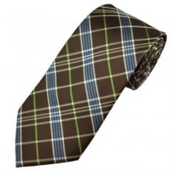 Brown, Blue, White & Green Check Men's Silk Tie