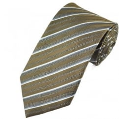 Brown, Blue & White Striped Silk Tie