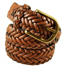 Brown Braided Men's Leather Belt - 32