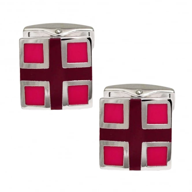 Brown Cross & Red Square Cufflinks