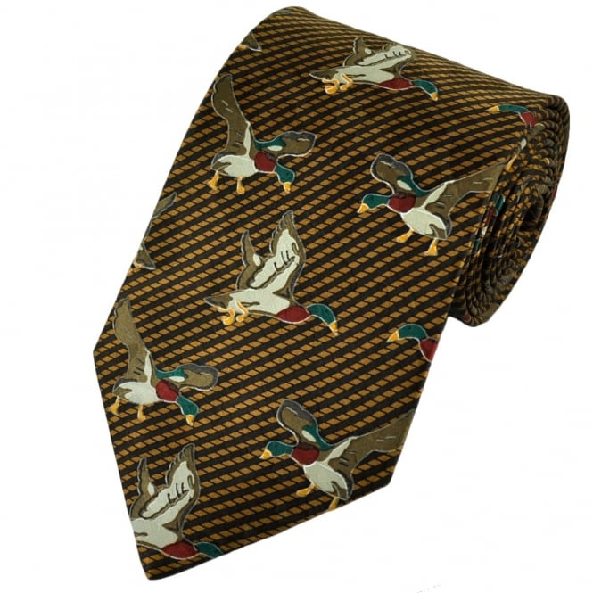 Brown Ducks Novelty Silk Tie
