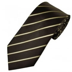 Brown & Gold Narrow Striped Men's Tie