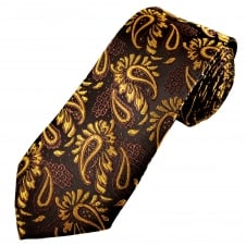 Brown & Gold Paisley Patterned Men's Extra Long Tie