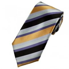 Brown, Gold, Purple, Lilac & Silver Striped Tie