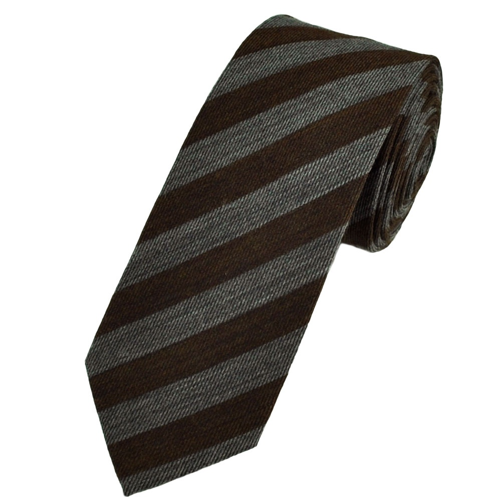 brown grey striped narrow wool blend tie from ties planet uk