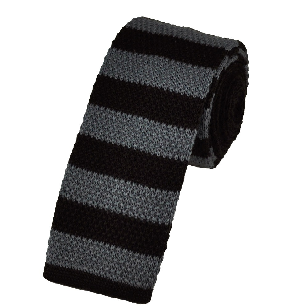 brown grey striped wool knitted narrow tie from ties