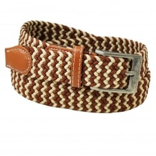 Brown & Ivory Patterned Woven Expandaband Belt