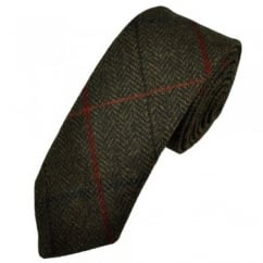 Brown Large Checked Herringbone Tweed Wool Tie