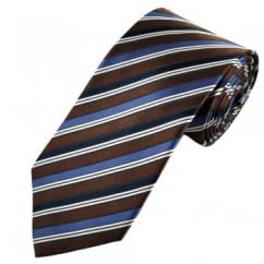 Brown, Navy, Blue & White Striped Men's Silk Tie