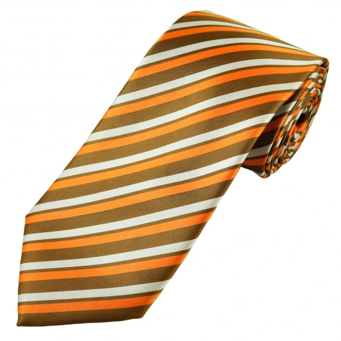 Brown, Orange & Silver Grey Striped Men's Tie