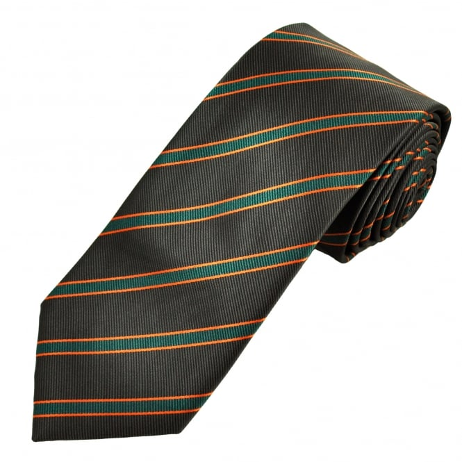Brown, Rust & Green Striped Men's Tie
