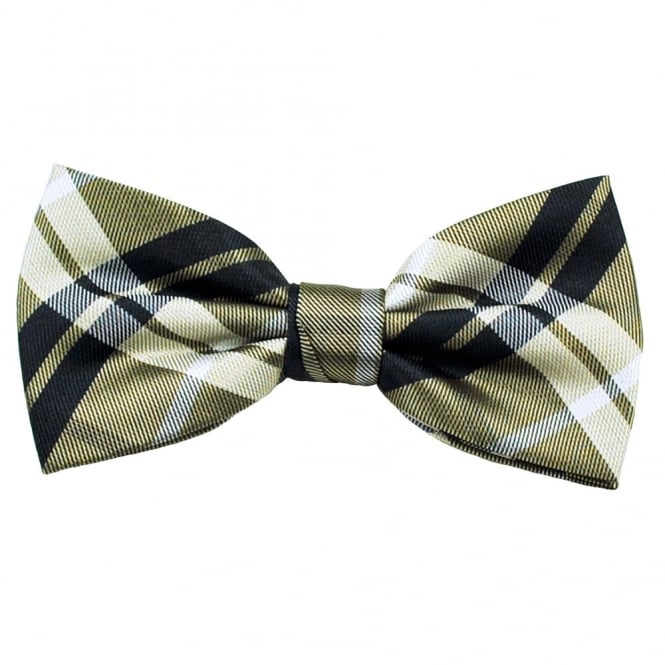 Brown, Silver & Navy Blue Checked Silk Bow Tie