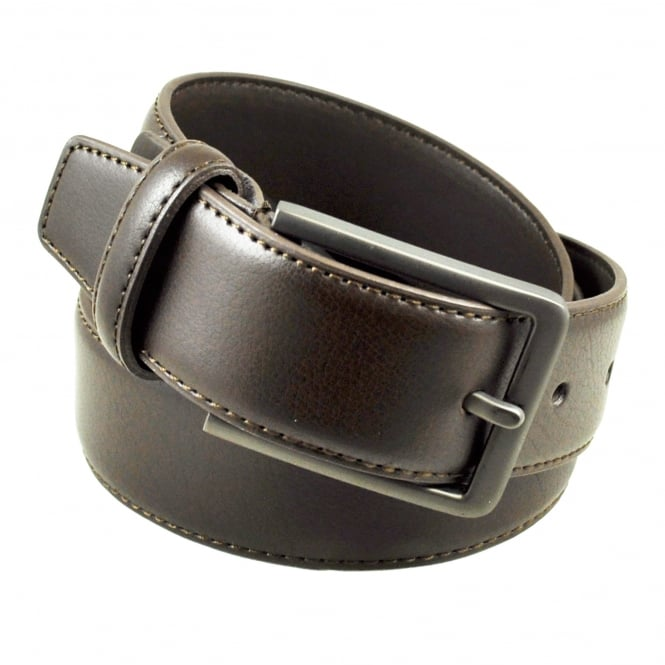 Brown Stitched Edge 35mm Men's Leather Belt