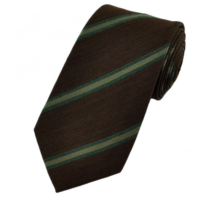 Brown Striped Wool Blend Tie