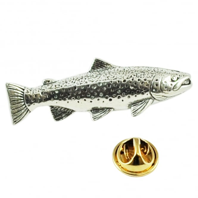 Brown Trout Fish Pewter Lapel Pin Badge