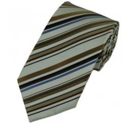 Brown, White & Blue Striped Silk Tie