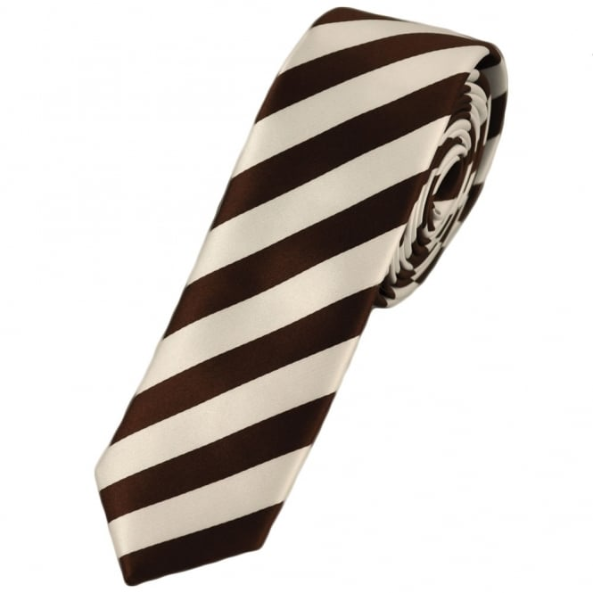 Brown & White Thin Striped Skinny Tie