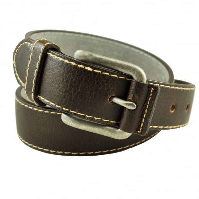 Brown with Beige Stitch Men's Belt