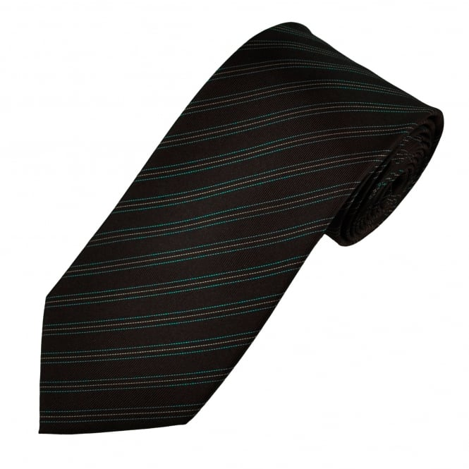 Brown With Teal & Lemon Thin Stripes Patterned Men's Silk Tie