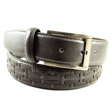 Brown Woven Men's Leather Belt