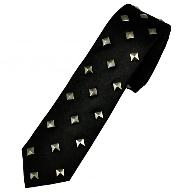 Brownie Dutch x Profuomo Black Studs Designer Skinny Tie
