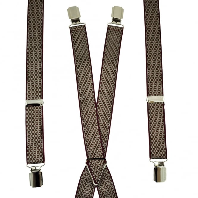 Burgundy & Beige Diamond Pattern Skinny Trouser Braces