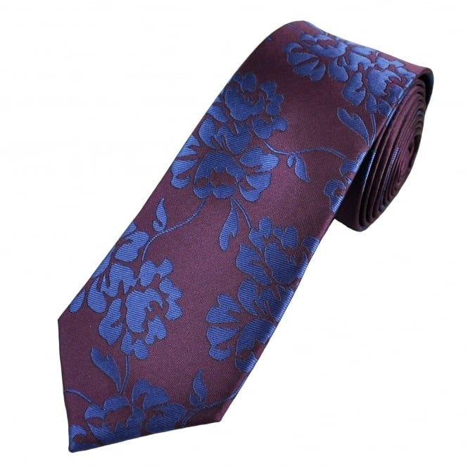 Burgundy & Blue Floral Patterned Narrow Men's Tie