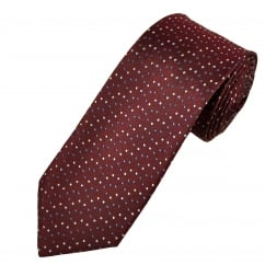 Burgundy, Blue & Silver Dot Patterned Men's Silk Tie