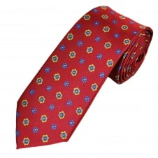 Burgundy, Blue & Yellow Flower Patterned Men's Tie