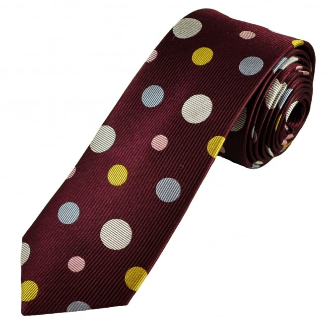 Burgundy, Gold, Silver, Sky Blue & Baby Pink Circles Patterned Men's Luxury Silk Tie