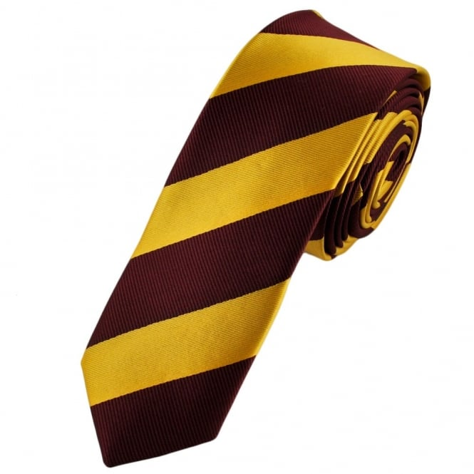 Burgundy & Gold Striped Skinny Tie 'Harry Potter Tie'