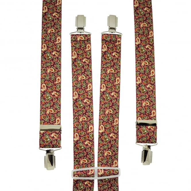 Burgundy, Green & Lemon Yellow Paisley Patterned Men's Trouser Braces