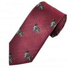 Burgundy Hunting Dog Silk Country Tie by Van Buck