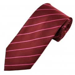 Burgundy & Pink Striped Men's Tie