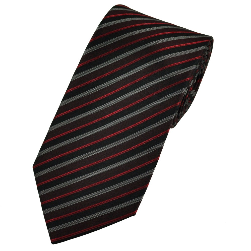 burgundy black white patterned striped silk tie