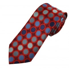 Burgundy, Red, Blue & Silver Circles Patterned Men's Tie