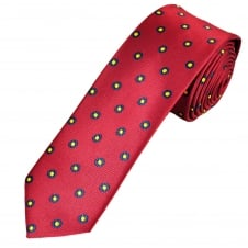 Burgundy Red, Blue & Yellow Circle Patterned Men's Tie