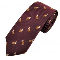 Burgundy Red Grouse Silk Country Tie By Van Buck