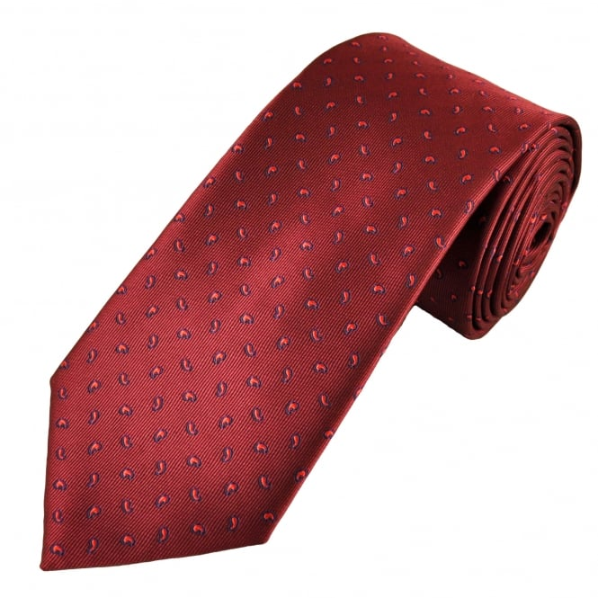 Burgundy, Red & Navy Paisley Patterned Men's Tie