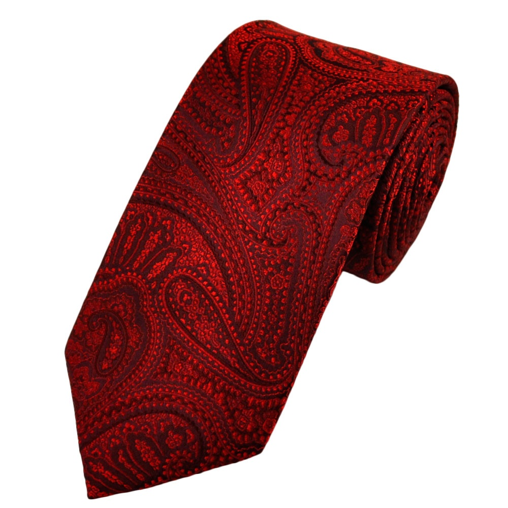 burgundy paisley patterned silk tie from ties planet uk