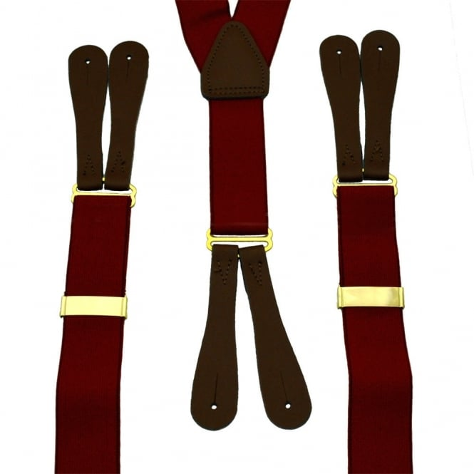 Burgundy Red Trouser Braces with Brown Leather Ends