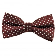 Burgundy & Silver White Polka Dot Men's Bow Tie