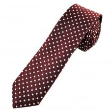 Burgundy & Silver White Polka Dot Men's Skinny Tie